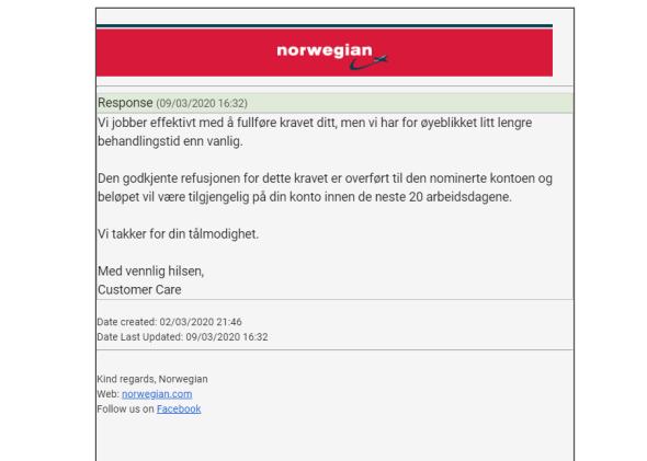 norwegian refundere billetter