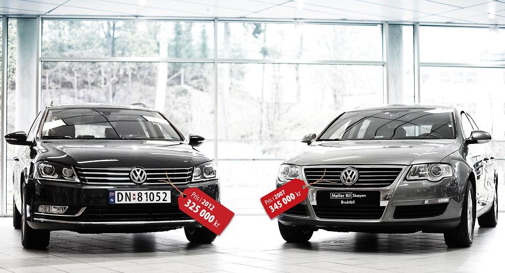 Samme bil, lavere pris: Vi har sammenlignet prisen på VW Passat i 2007 (til høyre) med 2012 (Comfortline Business Edition 105 HK, TDI) - til venstre. Dersom du i 2007 lastet opp bilen med like mye utstyr som dagens 2012-utagve, så kostet faktisk 2007-modellen mer.