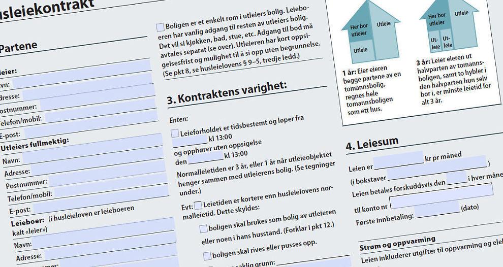 Kontrakt: Husleiekontrakten bør settes opp skriftlig. Her en faksimile av Dine Pengers forslag til kontrakt. Du finner link nede i saken.