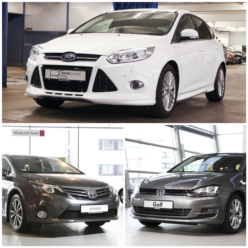 Hva lønner seg? Dine Penger har regnet på konkrete tilbud for disse tre bilene: Ford Focus, Toyota Avensis og VW Golf. Vi viser deg hva so lønner seg - lease eller kjøpe.