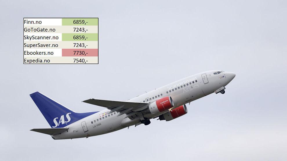 PRIS-SPRIK: Du kan spare mye penger på å være utro mot søkemotoren du vanligvis bruker i flybillett-jakten, viser Dine Pengers test. På bildet tar et SAS-fly av fra Oslo Lufthavn.Foto: Vidar Ruud / NTB scanpix