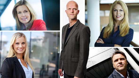 FORBRUKERØKONOMER: Kristine Picard, Silje Sandmæl, Hallgeir Kvadsheim, Elin Reitan og Magne Gundersen gir sin app-råd.