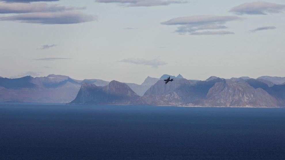 Et Orion-fly på vei inn til landing på Andøya flystasjon.