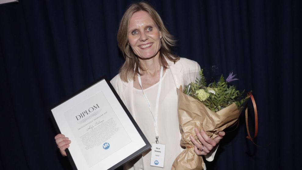 Helje Solberg fikk prisen som årets kvinnelige medieleder i 2017. Nå går hun fra VGTV til NRK.