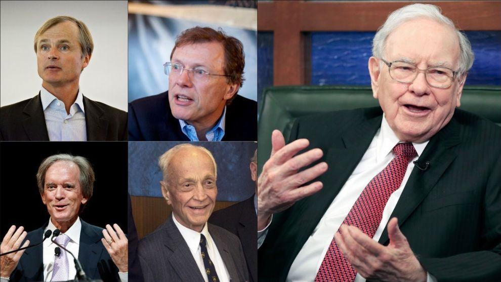 HAR GJORT DET STORT: Warren Buffett (t.h.) er kjent som blant verdens mest suksessrike investorer. Også de fire andre har vist gjentakende evne til å levere bedre avkastning enn markedet. Fra øverst til venstre til nederst til høyre: Øystein Stray Spetalen, Peter Hermanrud, Bill Gross og John Templeton.