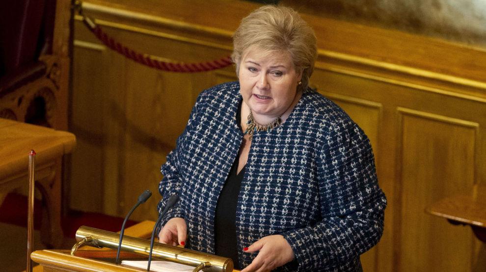 Statsminister Erna Solberg (H) på Stortinget onsdag formiddag.
