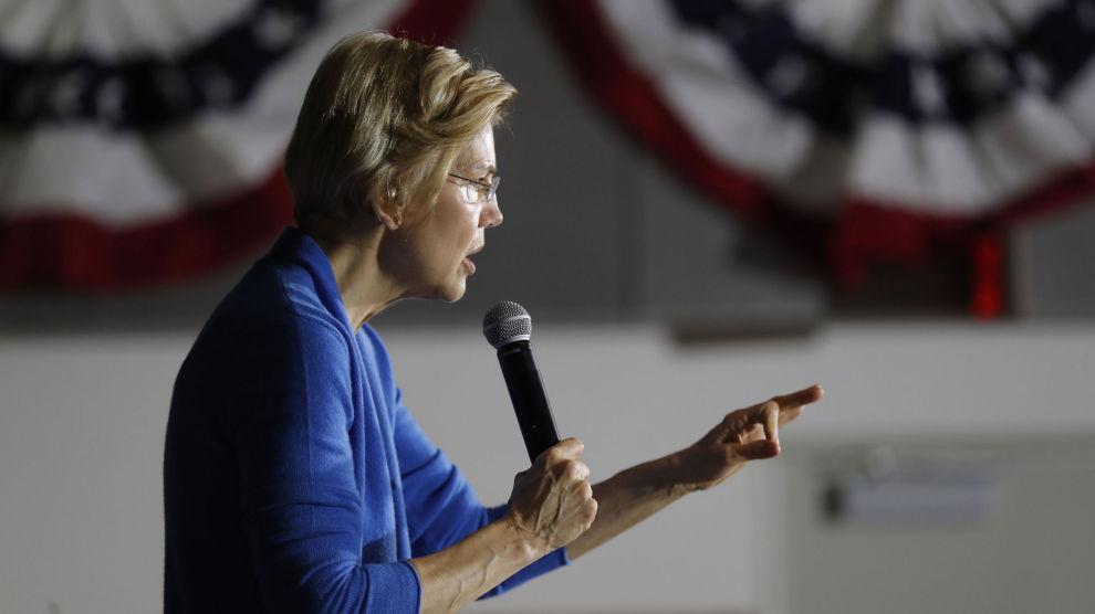 Senator Elizabeth Warren håper å bli Demokratenes presidentkandidat neste år og sparer ikke på kruttet i sin omtale av president Donald Trump.