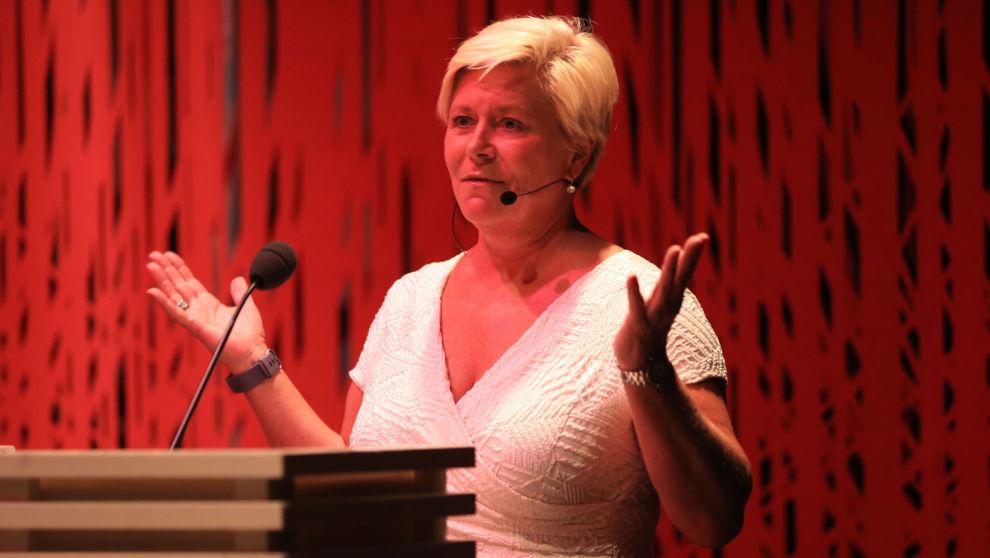 Frp-leder Siv Jensen holdt sitt partilederforedrag på Litteraturhuset tirsdag ettermiddag. Foto: Ørn E. Borgen / NTB scanpix.