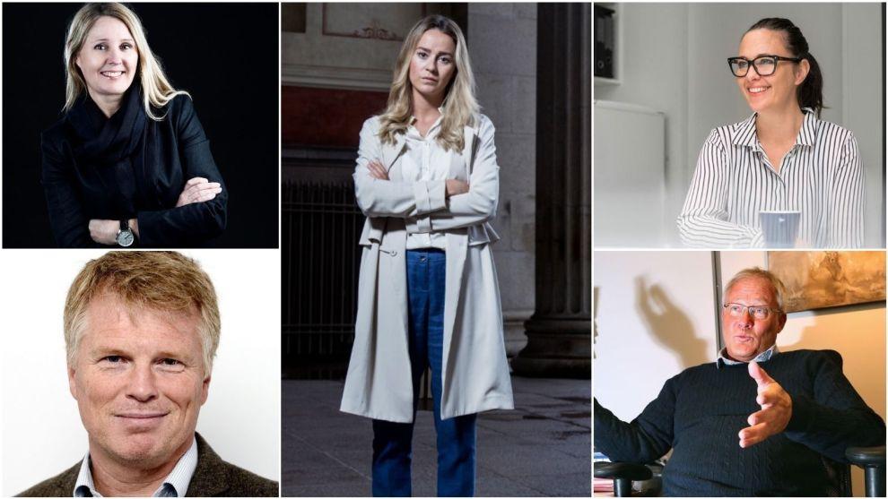 BOLIGEKSPERTER: Fra venstre: Janne Mette Bergesen, Ola Grytten, Nejra Macic, Hanne Geelmuyden, Børge Martinussen.