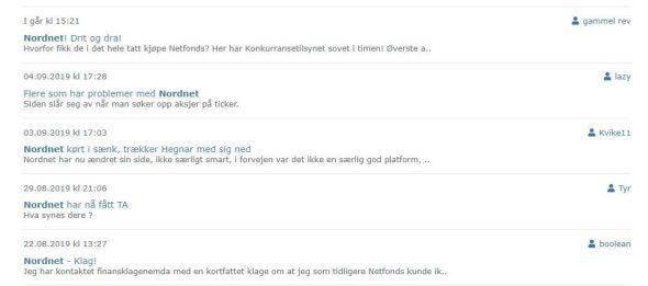 Skjermdump fra forumet til Finansavisen viser mye diskusjon om Nordnet.