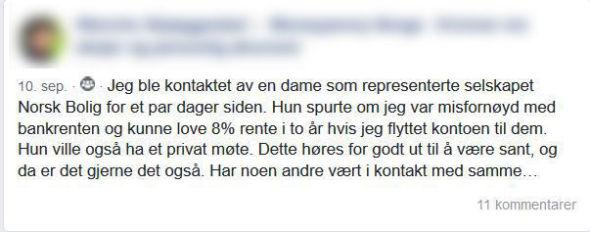 BLE OPPRINGT: Kvinnen i 70-årene, som fikk telefon fra Norsk Bolig, valgte å spørre på Facebook om noen hadde opplevd det samme.
