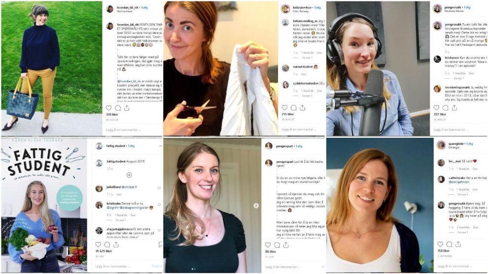 EKSEMPLER: Flere blir bitt av sparebasillen, og deler villig ut sine tips og triks til å få pengene til å strekke litt lenger, gjøre gode kjøp, og ikke minst, kutte forbruket. Her et knippe av de mest populære kontoene å følge på Instagram.