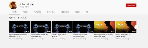 SLETTET SPOR: Johan Kloster har lastet opp flere informasjonsvideoer på YouTube, men har nå gjort disse usynlige.