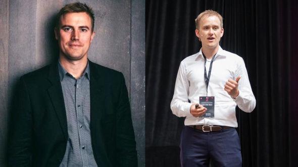 FINTECH-SJEFER: Sebastian M. Harung er sjef i Kameo, som var først ute på det norske markedet og har fått flest tilbakebetalte lån. Geir Atle Bore er sjef i Fundingpartner, som ikke har noen mislighold ennå.
