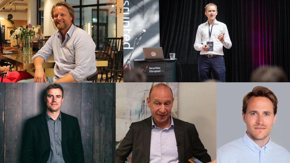 FINTECH-SJEFER: Øverst fra venstre: Jarle Holm i Monner, Geir Atle Bore i Fundingpartner, Sebastian M. Harung i Kameo, Morten Grusd i Perx og Andreas M. Talseth i Kredd.