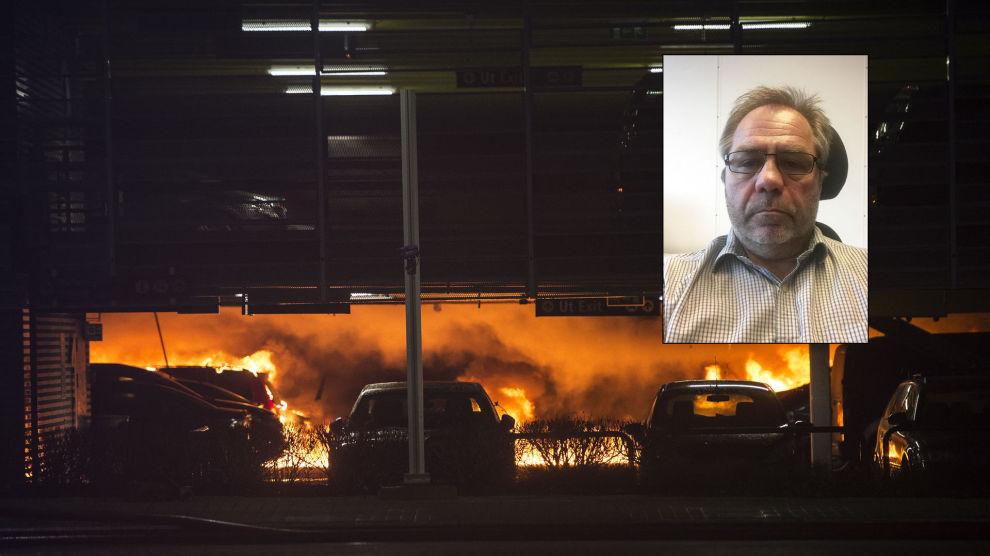 STORE SKADER: Heldigvis ble ingen mennesker skadd i brannen på Sola, men det er anslått at så mange som 300 biler er ødelagt. Én av bilene tilhørte Terje Steinsland.