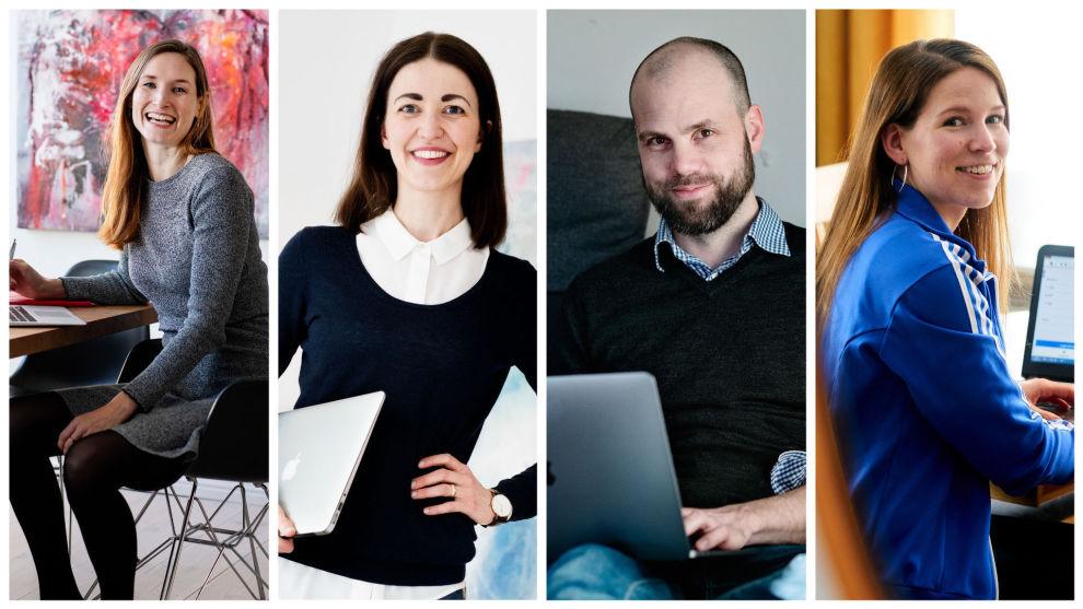 ULIK STRATEGI: Pengebloggerne (f.v.) Lise Vermelid Kristoffersen, Kjersti Grønseth, Eivind Berg og Anne Berit Grostad har litt ulike veier frem til sparemålet i disse tider.