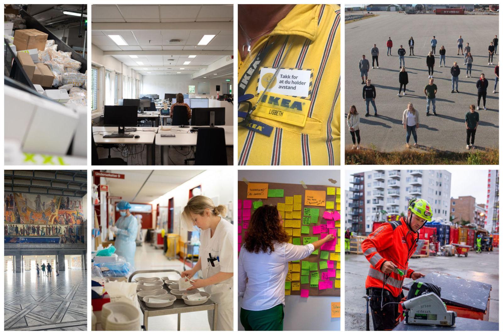 PÅ INNSIDEN: Fra Equinor til Posten. Noen av Norges største arbeidsgivere viser fram hvordan arbeidsplassen ser ut nå i koronatider, og forteller hvilke opplegg de vil ha for sine ansatte med tanke på viruspandemien framover.