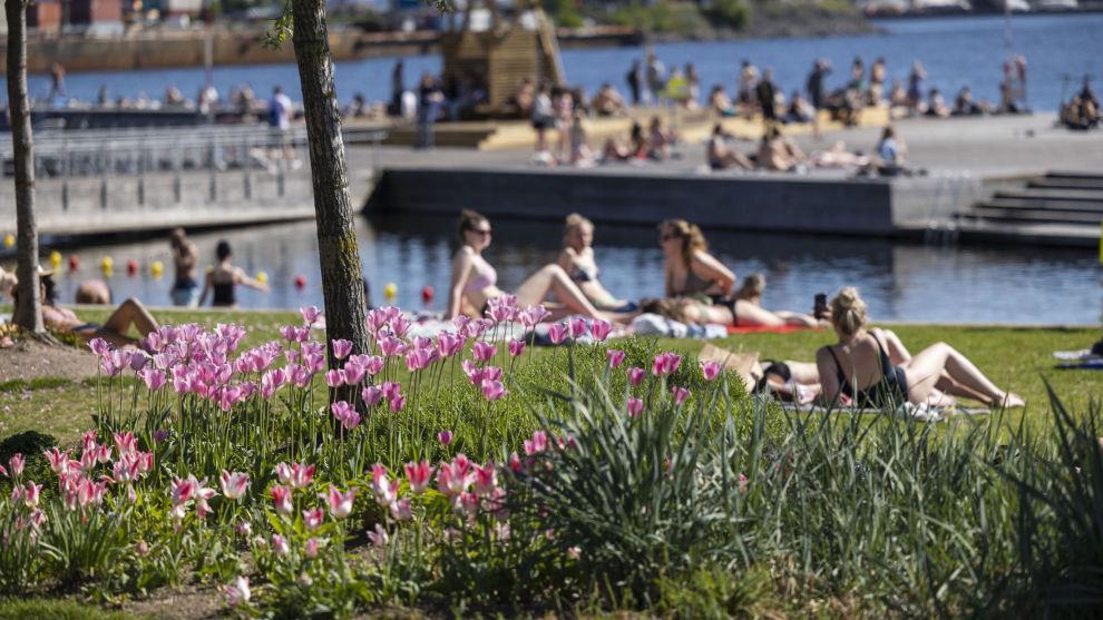 Folk bader og koser seg i Oslo sentrum. Gjenåpningen av samfunnet er godt i gang, etter flere måneders nedstengning.