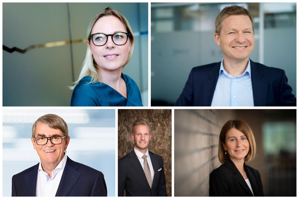 EKSPERTENE: Øverst f.v. Cathrine Gether (DNB), Pål Ringholm (Sparebank 1 Markets), Jan Petter Sissener, Christian Kallevig Arnesen (Finansco) og Isabelle Juillard Thompsen (DNB).